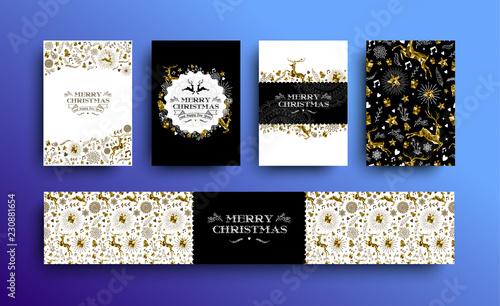 Boże Narodzenie i nowy rok złoty zestaw karty low poly jelenia