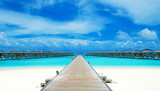 beach with water bungalows at Maldives - 230884802