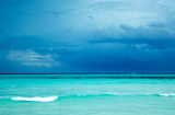 Maldives beach resort panoramic landscape. Summer vacation travel holiday background concept. Maldives paradise beach. - 230884839