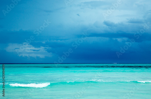 Foto Murales Maldives beach resort panoramic landscape. Summer vacation travel holiday background concept. Maldives paradise beach.