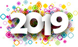 2019 new year background with geometric pattern.