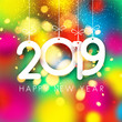 Colorful shiny 2019 Happy New Year card.