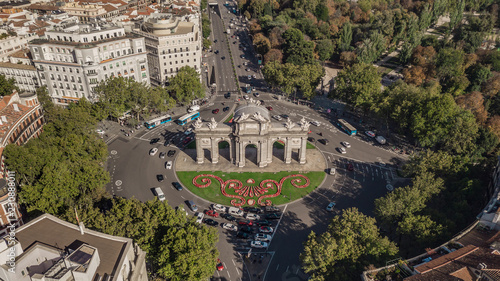 Aerial view of Puerta de Alcala in Madrid - 230888011