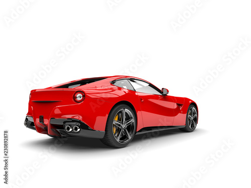 Modern red sports concept car - rear view