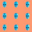 Pattern of blue skulls on orange background