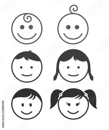 Set of simple face icon family, emoji template. Vector illustration. Isolated on white background. - 230895097