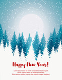 Vertical Merry Christmas and Happy New Year greeting card. Christmas tree winter landscape. - 230902215
