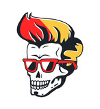 Human Skull with Sunglasses and Color Hairstyle