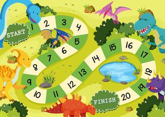 Flat dinosaur board game template