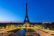 Sunrise in Eiffel Tower in Paris, France. Eiffel Tower is famous place in Paris, France.