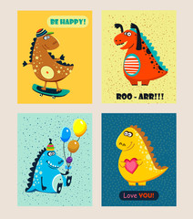 Cute dinosaurs. greeting cards set