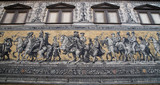 Furstenzug (Procession of Princes, 1871-1876, 102 meter, 93 people) is a giant mural decorates the wall. Dresden, Germany. It depicts to celebrate the 800 year anniversary of the Wettin Dynasty - 230940449
