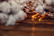 Christmas theme. Close up. Dry cotton flowers are intertwined with lights of Christmas garland. Copy space.