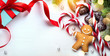 Christmas banner background; holidays gift, Christmas tree decoration and copy space for your text