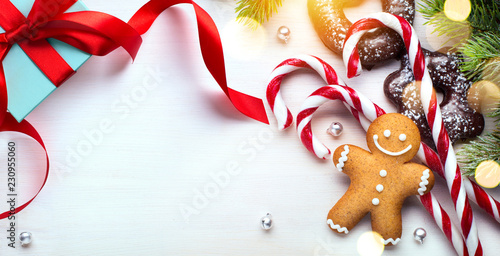 Foto Murales Christmas banner background; holidays gift, Christmas tree decoration and copy space for your text
