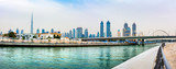 Panoramic view of Dubai downtown from the Water canal