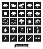 weather and climate solid square icons set - 230960025