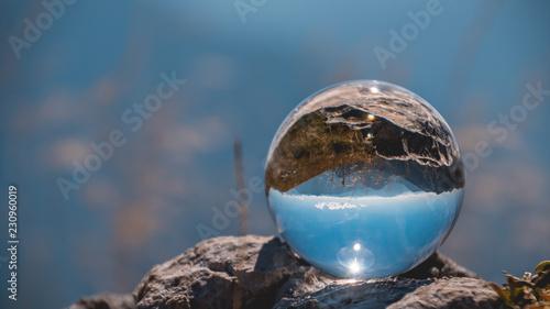 Crystal ball alpine landscape shot at the Loser summit-Altaussee-Steiermark-Austria - 230960019