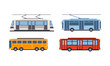 Trolley bus, tram, bus, public city transportation vehicles set vector Illustration on a white background