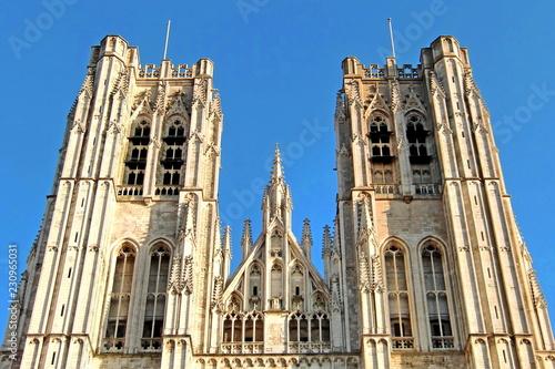 Leinwanddruck Bild Kathedrale Saint Michel in Brüssel / Belgien
