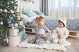 Two little sister girls open their gifts at the Christmas tree in the morning on the deck - 230966441