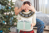 Young couple celebrating Christmas. A man suddenly presented a present to his wife. The concept of family happiness and well-being - 230966480