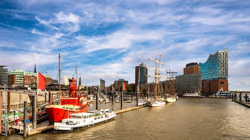 Leinwandbild Motiv Panorama Hamburg Hafen Kehrwiederspitze