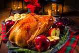 festive stuffed roast goose with red cabbage and dumplings - 230971686