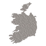 Ireland map abstract schematic from black ones and zeros binary digital code. Vector illustration.
