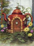 Domek z czajnika wśród kolorowych kwiatów na zielonej łące