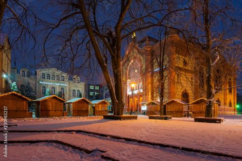 Leinwanddruck Bild Uzhgorod, Ukraine - DEC 26, 2016: Feczik Park in winter at dawn. former building of synagogue is a popular tourist attraction. location for Christmas fair in town