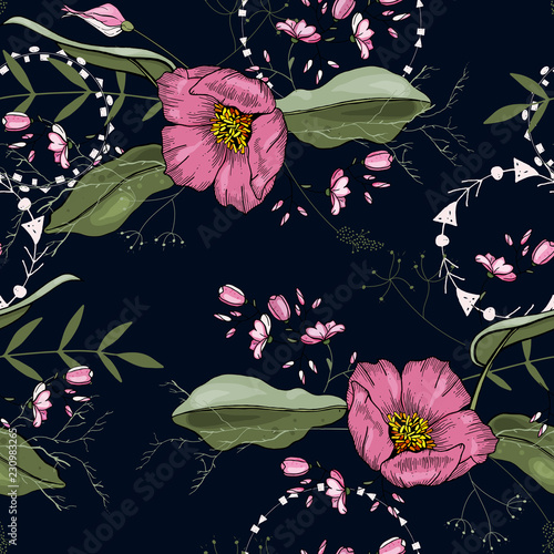 Blooming realistic isolated flowers. Hand drawn. Vector illustration. Retro Wild seamless flower pattern. Vintage background. Wallpaper. - 230983265