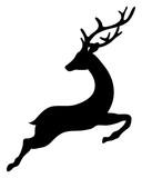 Flying Reindeer Silhouette Black - 230988669