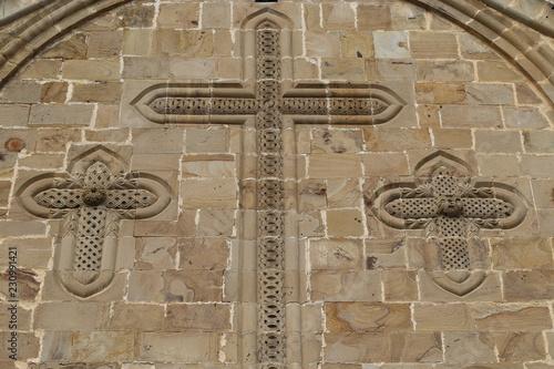 Bas-reliefs on facade of Ananuri church in Georgia