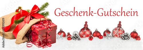 Leinwanddruck Bild Geschenk-Gutschein Weihnachten Dekoration