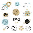 Set of hand drawn space element - rocket, planets and stars. Childish vector illustration.