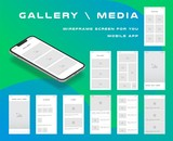 10 in 1 UI kits. Wireframes screens for your mobile app. GUI template on the topic of gallery media . Development interface with UX design. Vector illustration. Eps 10 - 230995475