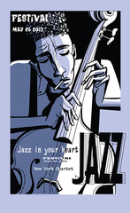 Jazz poster with double bass © Isaxar
