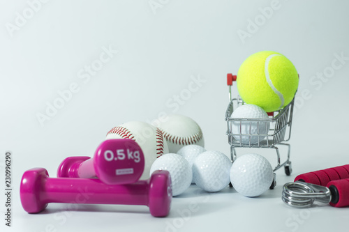 Balls sport on shopping cart,Shopping concept.