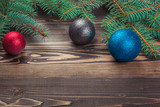 Christmas background, pine tree branches with decoration