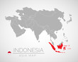 Map of Asia with the identication of Indonesia. Map of Indonesia. Political map of Asia in gray color. Asia countries. Vector stock.