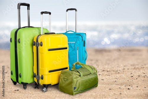 Large suitcases on background,travel concept
