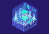 Quantum computing isometric vector illustration. 3D view on conceptual quantum computer - 231008429