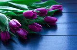 Bouquet of tulips on blue wooden table with gift box. Happy women's day. 8 March. Valentines day.
