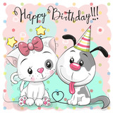 Greeting Birthday card with cute cat and dog - 231012652
