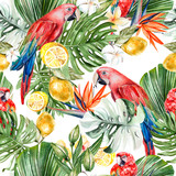 Beautiful watercolor tropical pattern with leaves, flowers,fruits and parrots.  - 231012662