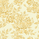 Beautiful graphic pattern with roses flowers and leaves.  - 231012887