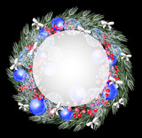 Watercolor Christmas wreath with toys, bow, berries and pine.  - 231013208