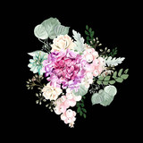 Watercolor bouquet with hydrangea flowers, roses, succulent plants, berries and leaves.  - 231013423