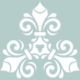 Oriental vector light blue and wite triangular pattern with arabesques and floral elements. Traditional classic ornament. Vintage pattern with arabesques - 231016422